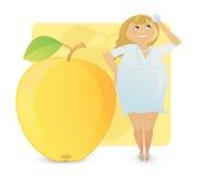 Frauenabbildung Typen: saftiger Apfel stockfotografie