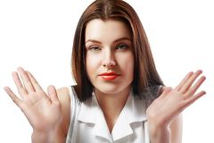 Frauenachselzucken lizenzfreies stockbild