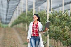 Frauenagronom im Obstgarten Lizenzfreies Stockfoto