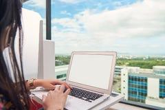 Frauenarbeit über Laptop lizenzfreies stockfoto