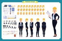 Frauenarchitekt im Anzug und dem Schutzhelm Charakterschaffungssatz stock abbildung