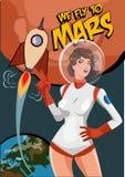 Frauenastronaut auf Mars Weinleseraumpostkarte Wir fliegen zu Mars stock abbildung