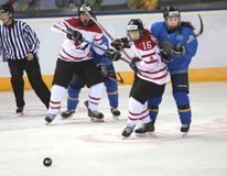 Frauenathleten, die Hockey spielen lizenzfreie stockfotos