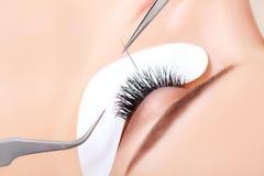 Frauenauge mit den langen Wimpern Wimper-Erweiterung Lizenzfreie Stockfotos