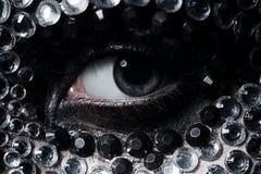 Frauenauge mit den silbernen und schwarzen Bergkristallen Stockbilder
