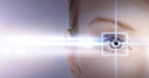 Frauenauge mit Laser-Korrekturrahmen Lizenzfreie Stockfotos
