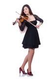 Frauenausführender, der Violine spielt lizenzfreie stockfotografie