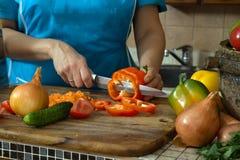 Frauenausschnittgemüse in der Küche Stockfotos