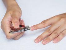 Frauenausschnittnägel unter Verwendung des Nagelscherers auf weißem Hintergrund heal lizenzfreie stockbilder