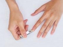 Frauenausschnittnägel unter Verwendung des Nagelscherers auf weißem Hintergrund heal stockbilder