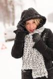 Frauenautozusammenbruchschneeunfall-Winterstraße stockbild