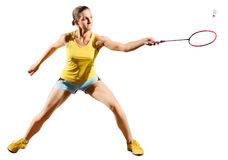 Frauenbadminton-Spielerversion mit Federball Stockfotografie