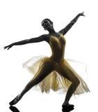 Frauenballerina-Balletttänzer-Tanzenschattenbild stockbild