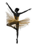 Frauenballerina-Balletttänzer-Tanzenschattenbild Stockfotos