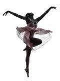 Frauenballerina-Balletttänzer-Tanzenschattenbild Lizenzfreie Stockfotos