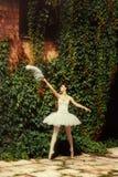 Frauenballetttänzer in einem weißen Kleid tanzt in die Natur Stockfotos