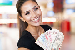 Frauenbargeldkasino Lizenzfreie Stockfotos