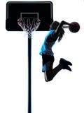 Frauenbasketball-spieler-Schattenbild Stockbild