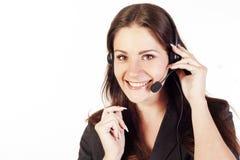 Frauenbediener mit Kopfhörer Lizenzfreie Stockfotografie