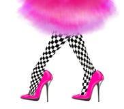 Frauenbein mit rosa Schuhen des hohen Absatzes und Weinleserock Lizenzfreies Stockbild