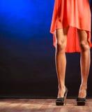 Frauenbeine auf hohen Absätzen Stockfotografie