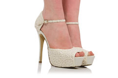 Frauenbeine mit Schuhen Stockbild