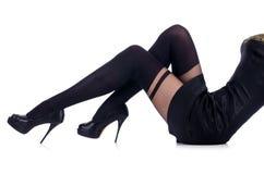 Frauenbeine mit Strümpfen Stockfotos