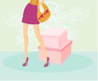 Frauenbeine und -handtasche stock abbildung