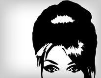 Frauenbild in der Retro- Art, Art und Weisehintergrund Stockfoto