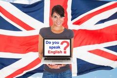 Frauenbitten sprechen Sie Englisch lizenzfreies stockfoto