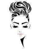 Frauenbrötchen-Frisurenikone, Logofrauengesicht auf weißem Hintergrund Lizenzfreie Stockbilder
