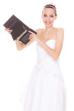 Frauenbraut mit einem Dollar Hochzeitsausgaben Lizenzfreies Stockfoto