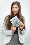 Frauenbuchhalterporträt Junge Geschäftsfrau weißes backgrou Lizenzfreie Stockbilder