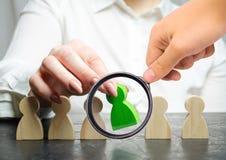 Frauenchef w?hlt die Person im Team Personalmanagement Begabte Arbeitskraft Einstellungspersonal Konzeptabbildung 3d promote stockbilder