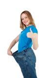 Frauendarstellen, wie viel Gewicht sie verlor. stockbilder