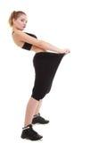 Frauendarstellen, wie viel Gewicht sie verlor Stockbilder