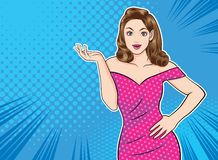 Frauendarstellungsgeste irgendein Produkt mit Punkthintergrundpop-arten-Comicsart vektor abbildung