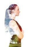 Frauendoppelbelichtungsnatur Stockfotografie