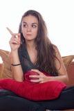 Frauendrohung Stockfoto