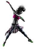 Fraueneignung übt lokalisiertes Schattenbild des Tänzers Tanzen aus Stockfotos