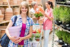 Fraueneinfluß-Blumenpotentiometer-Gartenmittespeicher Lizenzfreie Stockfotografie