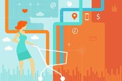 Fraueneinkaufen unter Verwendung des Warenkorbes online untereinander verbunden Stockfotografie