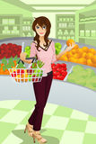 Fraueneinkaufenlebensmittelgeschäft vektor abbildung