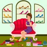 Fraueneinkaufenschuhe vektor abbildung