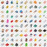 100 Fraueneinkaufsikonen stellten, isometrische Art 3d ein Stockfotos
