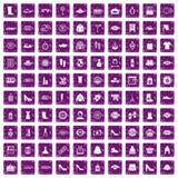 100 Fraueneinkaufsikonen stellten Schmutz purpurrot ein Stockbilder