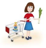 Fraueneinkaufslebensmittelgeschäft Lizenzfreies Stockbild