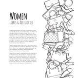 Fraueneinzelteil- und -Zubehörnetzfahne farblos lizenzfreie abbildung