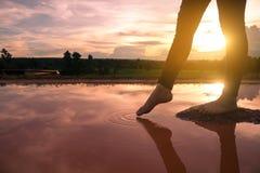 Frauenfüße auf den Felsen im Wasser Stockfotografie