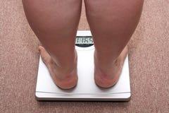 Frauenfahrwerkbeine mit Übergewicht Lizenzfreies Stockfoto